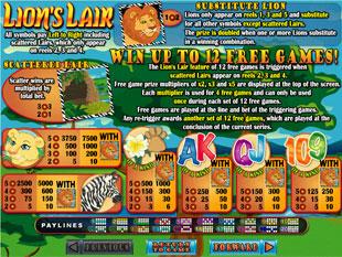 welcome bonus Lion's Lair slot game
