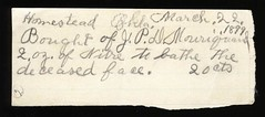 1899 Receipt for J. P. D. Mouriguard Nitrate from Homestead, OK. (Ballyhooligan) Tags: cemetery dead death tombstone casket fluid funeral embalming vault macabre corpse coffin director dying hearse mortuary embalm