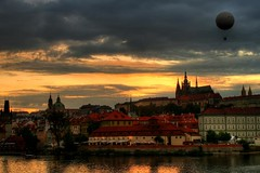 Sunset Prague with Stevacek ;) (mischuge) Tags: city sunset river lights evening prague cathedral steve balloon vltava hdr praguecastle stvitus stnicolas romanticprague nbe august09