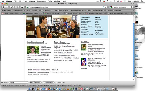 Today's front page for the Multnomah County Library website