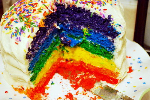 Back to School Rainbow Cake