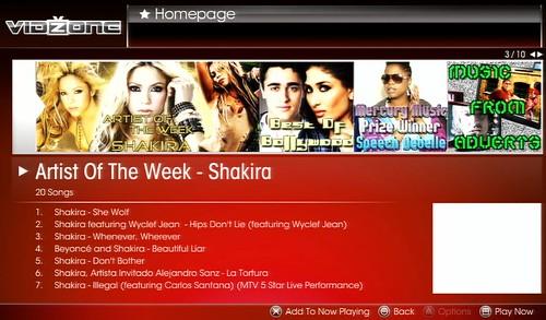 VidZone Homepage: Shakira