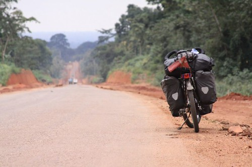 The hot road through the tropical vegetation north of Kumasi...