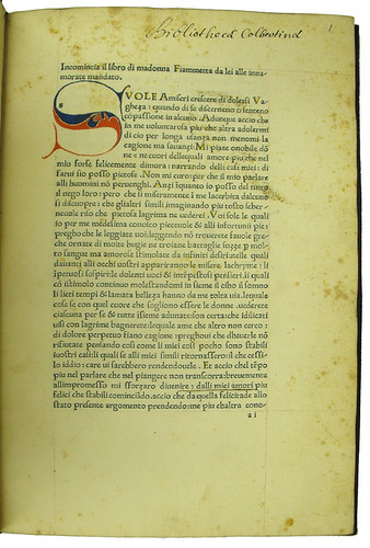Coloured initial and mis-signed leaf in Boccaccio: Fiammetta