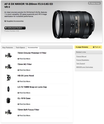 Compatible accessories for the Nikon 18-200mm VR II Nikkor lens at Nikon USA