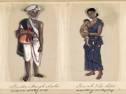 012- Fabricante hindú de brazaletes mujer e hijo-Seventy two specimens of castes in India 1837