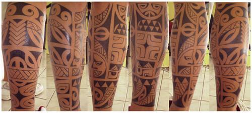 tatuagem maori perna