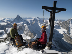 At the top of Zinalrothorn (4221m), after climbing the south east ridge (cresta sud est) - Alpinism in the Swiss Alps