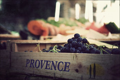 Saturday market in Riez (Oly ;)) Tags: blue light france texture fruits closeup town words dof village box crossprocess letters provence grape
