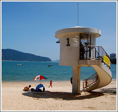 Stanley Beach, Hong Kong (Hot Oyster Photography) Tags: china blue sea beach umbrella hongkong stanley lifeguardtower hotoysterphotography