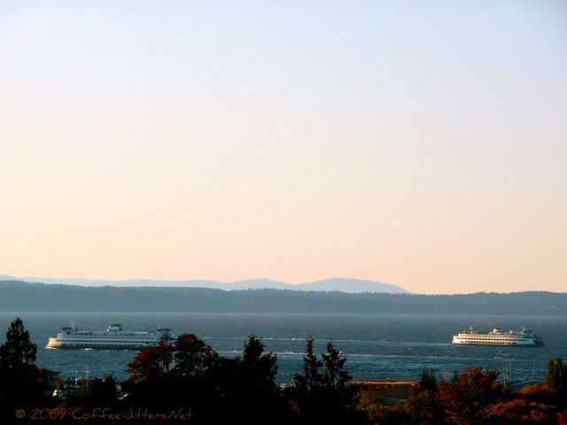 The view of Puget Sound from Edmonds, Washington