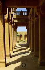 Columns and Shadows (Raheel Lakhani - [id: darkcoldcoffee]) Tags: pakistan beauty graveyard architecture rural ancient ruins bricks columns graves tiles silence karachi archeology sindh indus pck makli masoluem