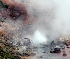 """Tormented Origins""  DSC_0167 (kluehirschSnowpine) Tags: geyser geothermal red steam mud rocks water contrast hotmineralpool yellowstonenationalpark"