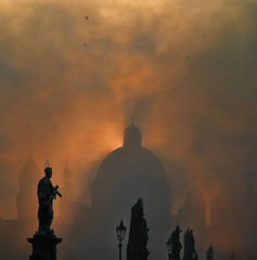 Prague Light (Ian@NZFlickr) Tags: morning autumn sun mist bravo prague praha 2006 spire uni topaz flickrsbest infinestyle