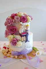 karen set up (Deliciously Decadent (Taya)) Tags: flowers wedding sea roses shells white cake hearts groom bride treasure purple chest barrel cream double fresh lilac butter chef mauve rough mermaid toppers buttercream