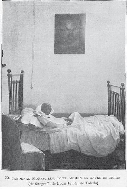 El Cardenal Monescillo momentos antes de fallecer en agosto de 1897. Fotografía de Lucas Fraile para la Ilustración Artística