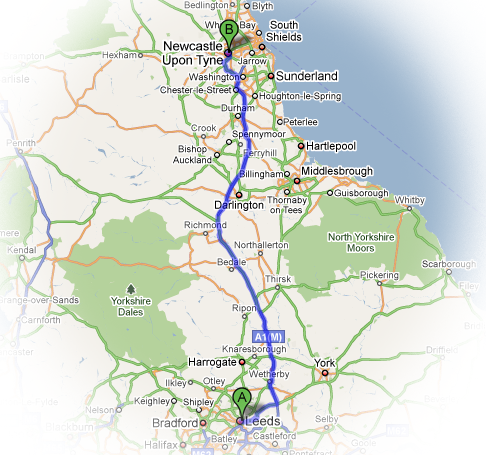 Drive from Leeds to Newcastle upon Tyne