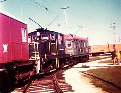 Electric trolley freight motors at work switching museum rolling stock. The Illinois Railway Museum. Union Illinois. November 1976.