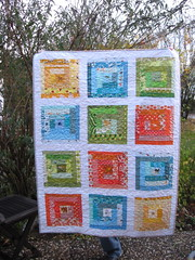 Baby log cabin quilt (theknicksofknacks) Tags: blue orange baby green animals quilt logcabin whitesashing