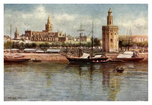 005-Sevilla la torre del oro y la catedral-Southern Spain 1908- Trevor Haddon
