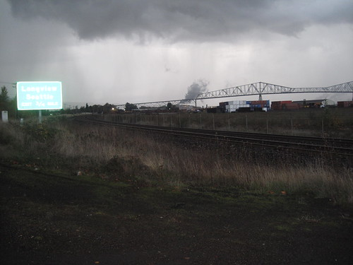 Just before the hail, scary bridge to Washington in the background