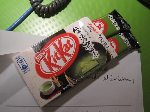 green tea Kit-Kat, shared with Alvaro