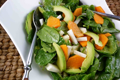 Spinach Salad with Fuyu Persimmons, Jicama & Avocado with Miso Dressing Recipe
