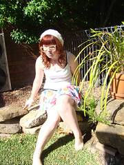 Geek. (amyvindictive) Tags: white floral outside glasses big amy geek cream shy skirt nervous geeky vindictive
