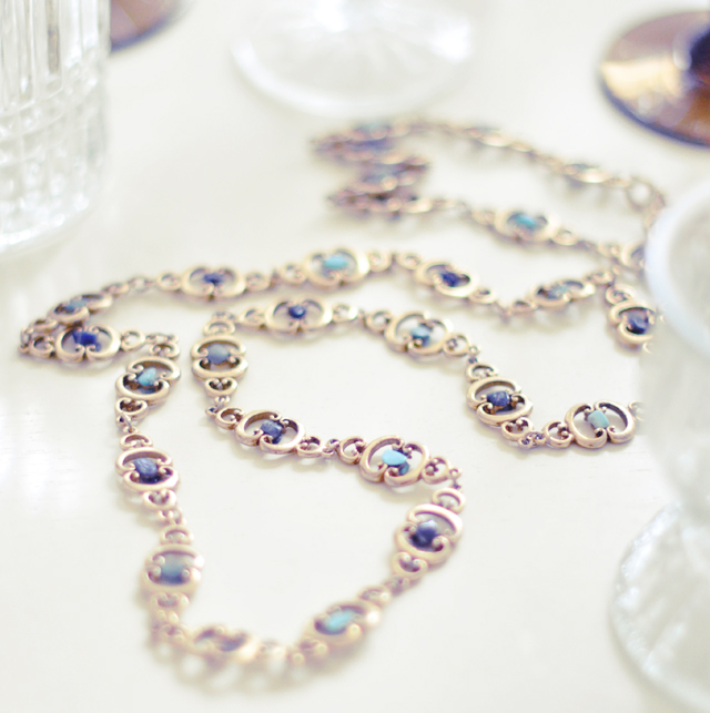 vintage gold necklace  with blue stones