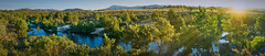 Rays at the River (RobMacPhotography) Tags: landscapes panorama murrumbidgee river water sunset rays trees mountains act bank canberra australia sony a6000 rob mac photography sun green grass riverbank swimming fishing summer