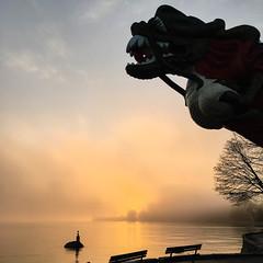 The dragon and the mermaid (rrestout) Tags: sculpture 222naturalphenomenon vancouver japanese sunrise bench canada silhouette fog 309marinefeature sea