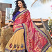 Beautiful Cream Saree With Embroidery & Patch Work With Art Silk Blouse Sarees on Shimply.com