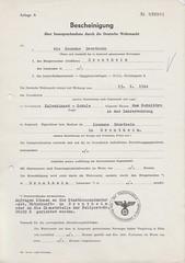 1944.02.13 - Beslagleggelsesbevis på skolekontorlokalet i lærerboligen ved Kalvskinnet Skole