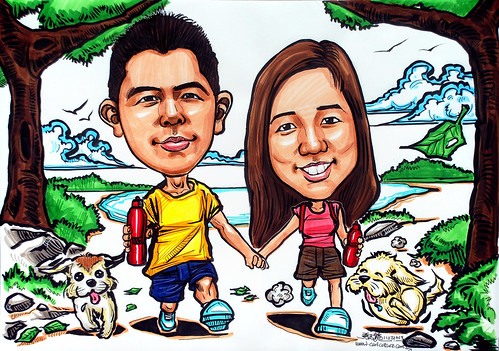 Couple caricatures - nature walk