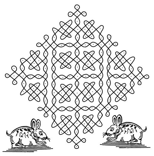 Indian Designs p - bundle of sweets symbol with pair of rabbits