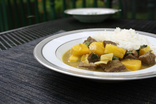 Green Curry Beef with Pineapple, Coconut Rice 2