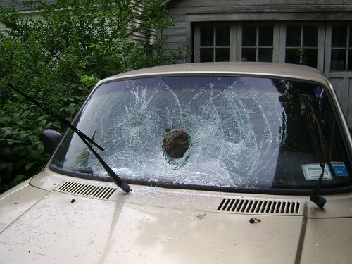 Pete's smashed windshield