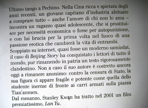 Beijing Story, di Tongzhi, Nottetempo 2009, Dario e Fabio Zannier (progetto grafico), quarta di copertina: part., 1