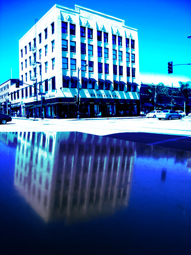 Color burn building reflection on an empty Old Town Pasadena fourth