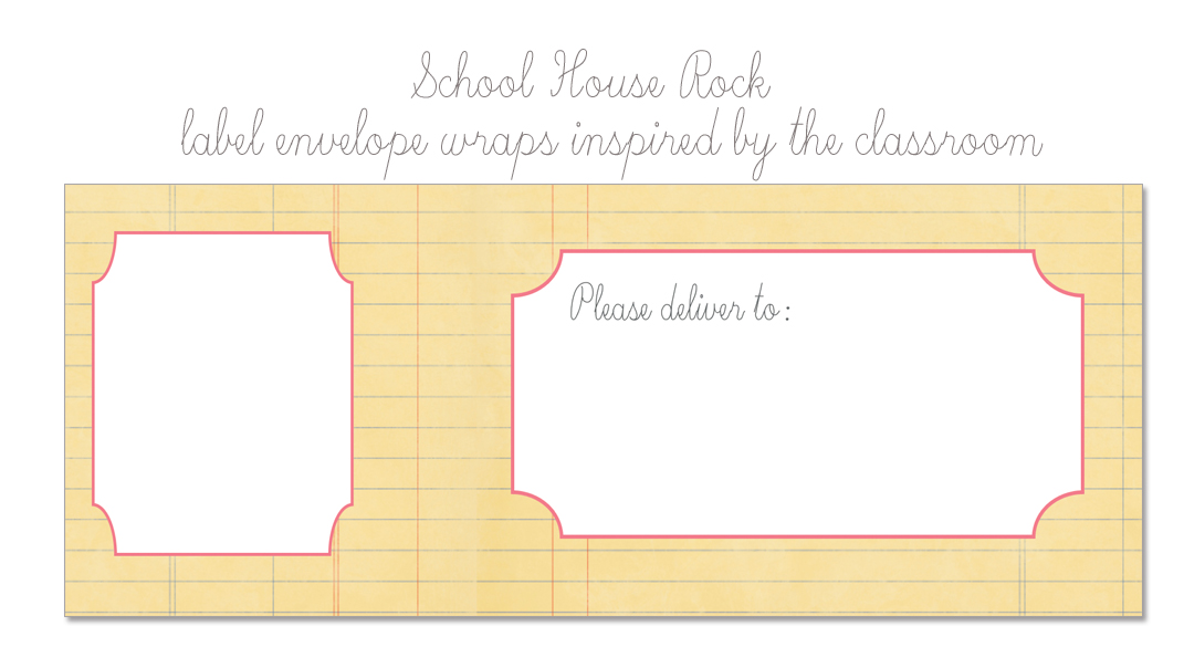 school house label envelope wrap