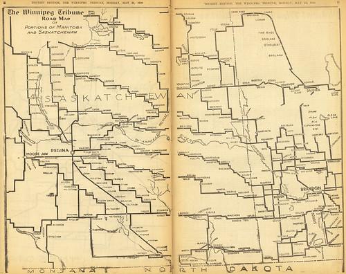 map of saskatchewan and manitoba. The Winnipeg Tribune Road Map