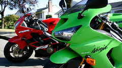 F4i and Kary (PoweredByAloe) Tags: motorcycle sportbike kawasaki kawi zx6r 06 2006 ninja 636 ninja636 lime green limegreen honda cbr cbr600 f4i 2001 01 red black