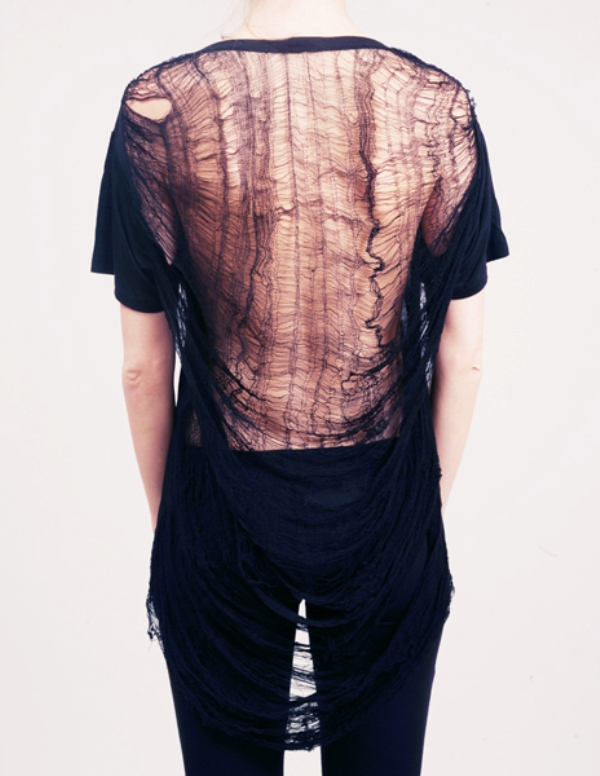 Obesity and Speed crew neck top with shredded sheer cobweb back 4