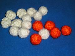 white to orange beads