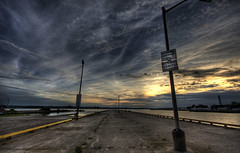 Pier beside the Skyway Bridge (Raf Ferreira) Tags: sunset sky ontario canada clouds steel hamilton rafael mills hdr hfg ferreira peixoto cootes