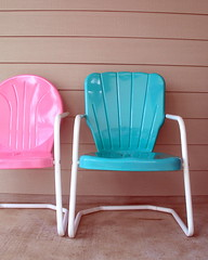My new Candybouncer chairs (KnockKnocking) Tags: pink blue cute home metal vintage austin chair aqua texas outdoor turquoise pastel south shell retro patio bayou porch decor candybouncer