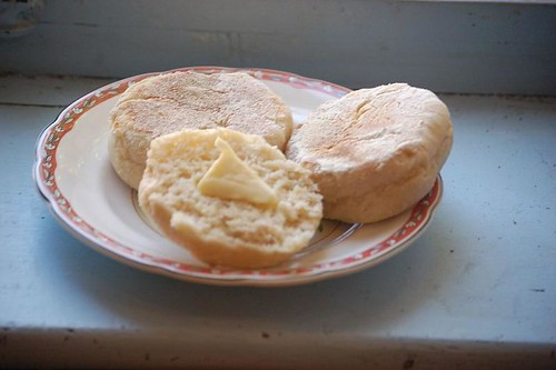 English muffins with butter