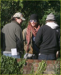 Johnny Depp (ODDtaylor) Tags: uk music cold sunglasses shirt scarf video candid coat smoking jacket johnny johnnydepp plaid knithat depp director halflength exclusive knitcap musicvideo herts ciggarettes