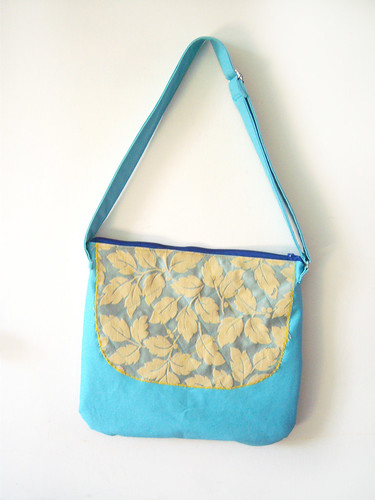 leaves on blue bag