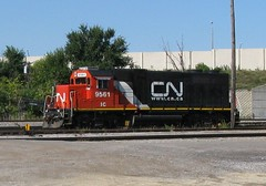 Canadian National EMD roadswitcher at work. Schiller Park Illinois. Late September 2009.